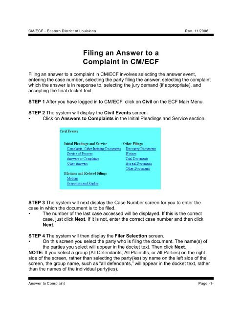 Filing an Answer to a Complaint in CM/ECF - US District