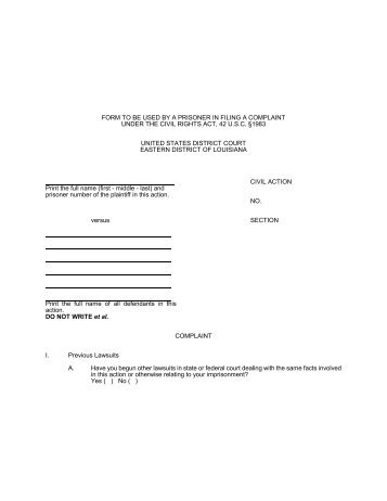 Form To Be Used By A Prisoner In Filing A Civil Rights Complaint In