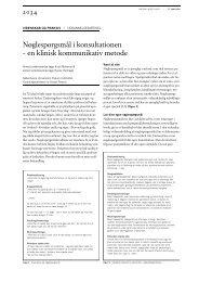Nøglespørgsmål i konsultationen – en klinisk ... - Lægeforeningen