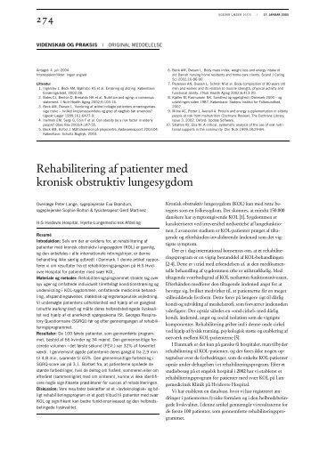 Rehabilitering af patienter med kronisk obstruktiv lungesygdom