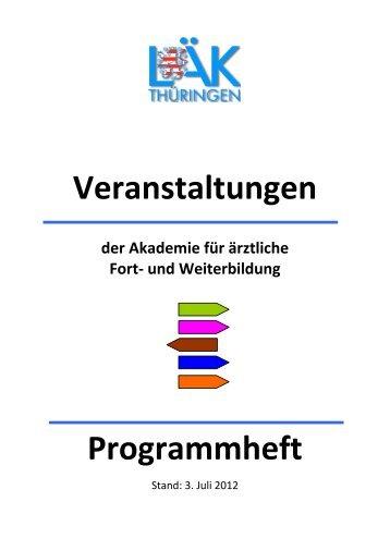 Veranstaltungen Programmheft - Landesärztekammer Thüringen