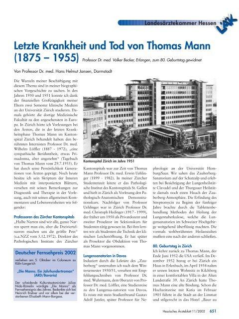 Letzte Krankheit und Tod von Thomas Mann - Landesärztekammer ...