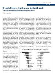Krebs in Hessen – Inzidenz und Mortalität 2008