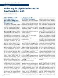 Bedeutung der physikalischen und der Ergotherapie bei MMS