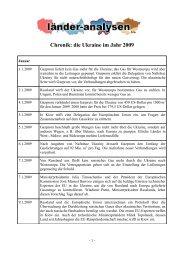 Chronik: die Ukraine im Jahr 2009 - Laender-Analysen
