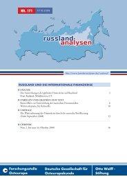 Russland und die internationale Finanzkrise - Laender-Analysen