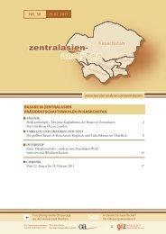 ZENTRALASIEN-ANALYSEN Nr. 38, 25.02.2011 - Laender-Analysen