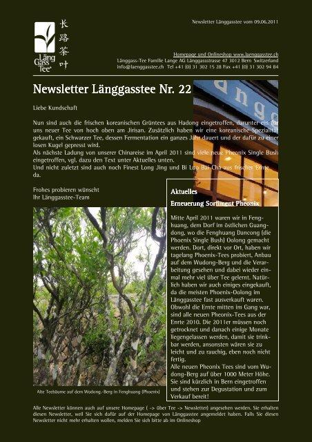 Newsletter Nr. 22 vom 09. Juni 2011 - Länggass-Tee