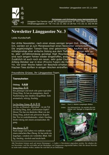 Newsletter Nr. 3 vom 03. November 2009 - Länggass-Tee