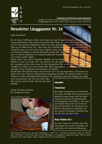 Newsletter Nr. 24 vom 13. August 2011 - Länggass-Tee