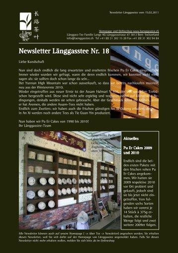 Newsletter Nr. 18 vom 15. Februar 2011 - Länggass-Tee