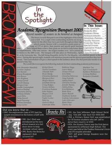 March 2003 - Jefferson High School
