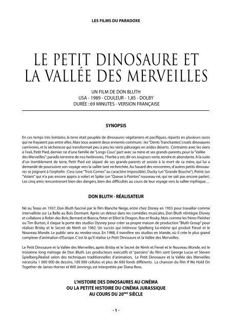 Le Petit Dinosaure Les Films Du Paradoxe