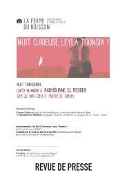 Revue de presse Nuit Curieuse Leyla Tounsia - La Ferme du Buisson