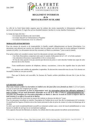 REGLEMENT INTERIEUR de la RESTAURATION SCOLAIRE