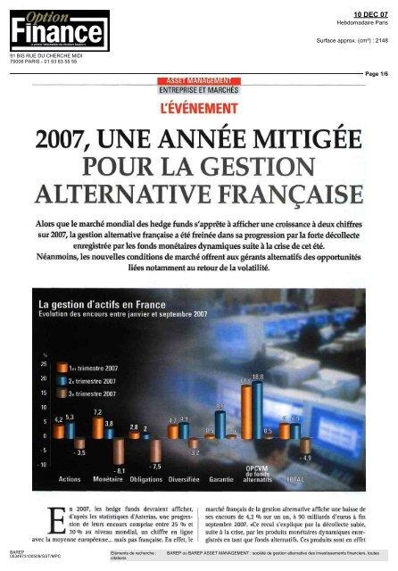2007, une annee mitigee pour la gestion alternative française