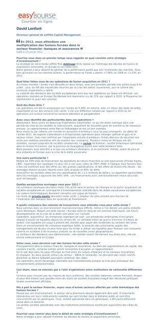Easybourse 18/01/12 - Laffitte capital management