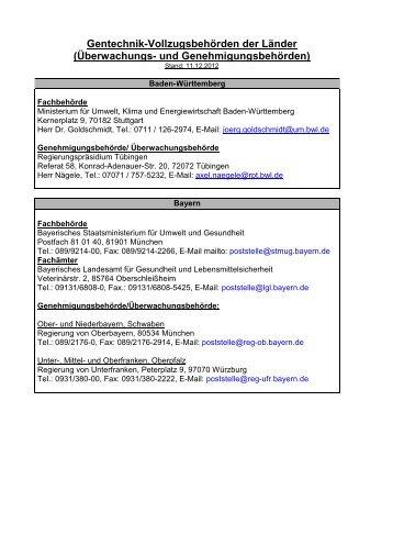 Zuständige Länderbehörden für Gentechnisches Arbeiten - VBio