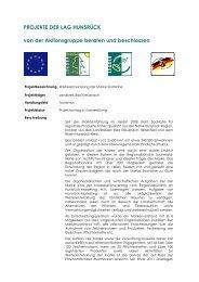 Weiterentwicklung der Regionalmarke SooNahe - LAG Hunsrück