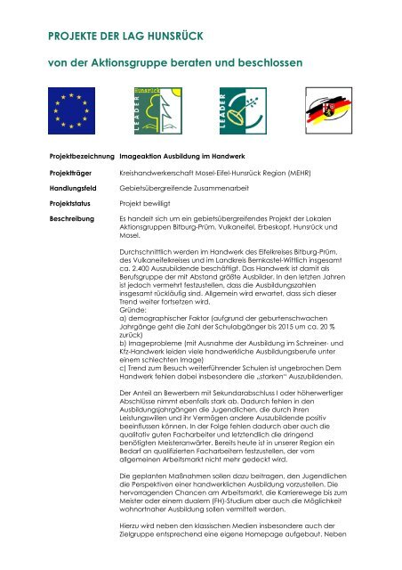 Imageaktion Ausbildung im Handwerk - LAG Hunsrück