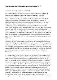 Bericht des Workshops Berufliche Bildung 2013 - LAG Medien eV