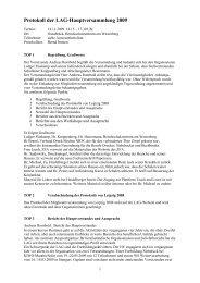 Protokoll der LAG-Hauptversammlung 2009 - LAG Medien eV