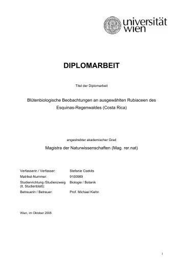 DIPLOMARBEIT - Tropenstation | La Gamba