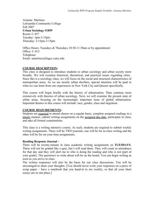 Urban Sociology Pre-WID (PDF) - LaGuardia Community College