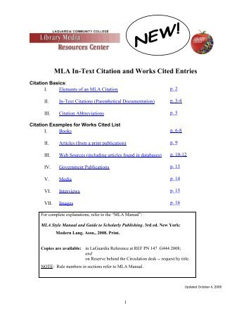 cites & sources an apa documentation guide