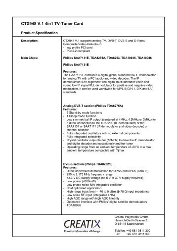 CTX948 V.1 4in1 Tv-Tuner Card - CREATIX