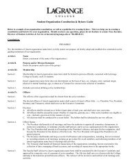 Student Organization Constitution & Bylaws Guide - LaGrange College