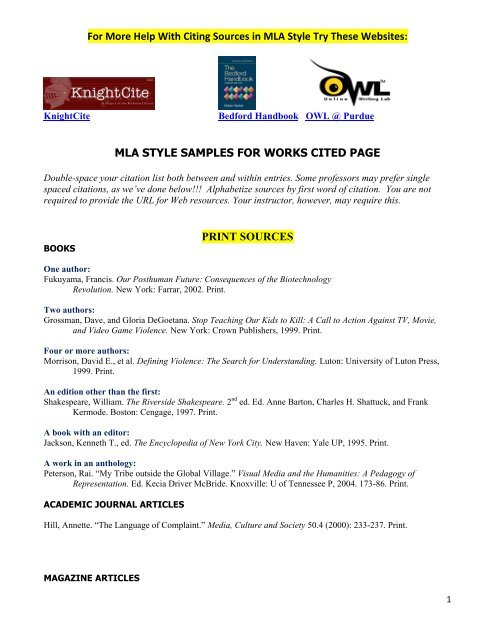 Mla Style Samples For Works Cited Page