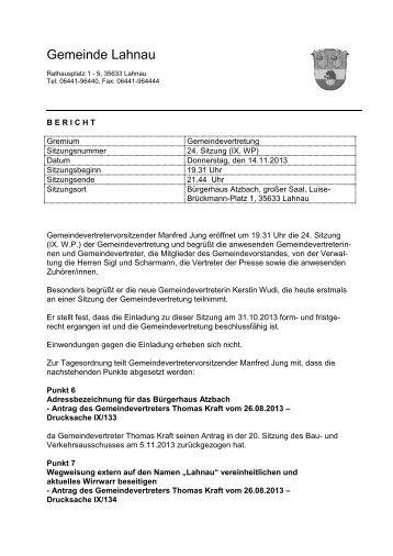 Bericht zur Sitzung der Gemeindevertretung vom 14.11.2013 - Lahnau