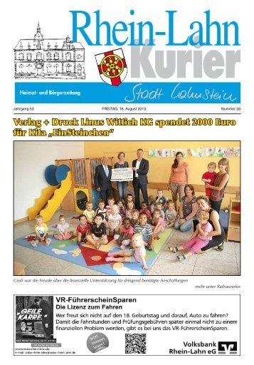 Verlag + Druck Linus Wittich KG spendet 2000 Euro für ... - Lahnstein