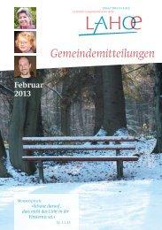 Gemeindemitteilungen Februar 2013