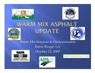 Warm Mix Asphalt Update