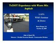 TxDOT Experience with Warm Mix Asphalt