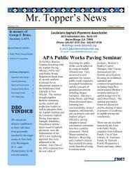 December 2001 Issue - Louisiana Asphalt Pavement Association