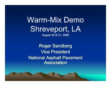 Warm-Mix Demo - Louisiana Asphalt Pavement Association