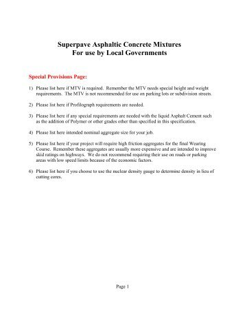 Superpave Asphaltic Concrete Mixtures For use by Local ...