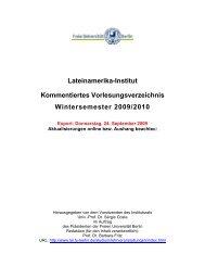 Kommentiertes Vorlesungsverzeichnis WS0910 - Lateinamerika ...