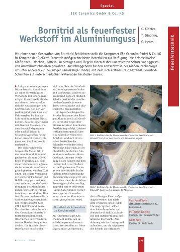 Bornitrid als feuerfester Werkstoff im Aluminiumguss