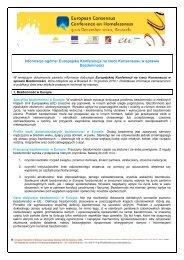 Informacje ogólne: Europejska Konferencja na rzecz ... - Europa