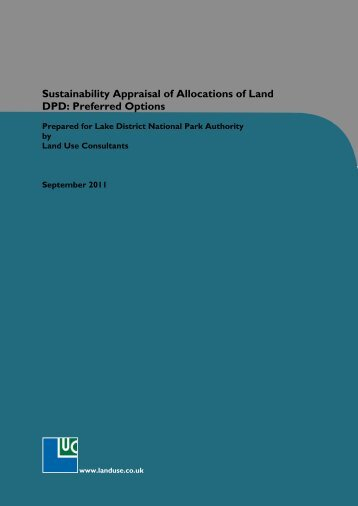 Sustainability Appraisal for Allocations of Land - Preferred Options