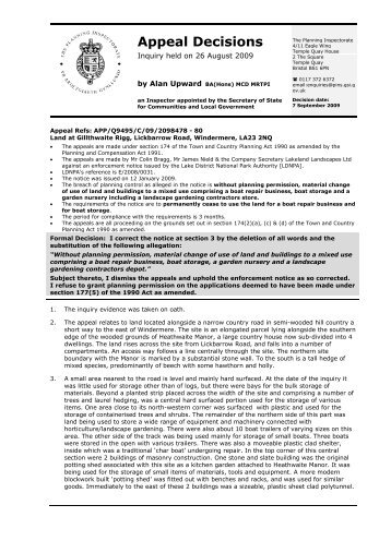 Appeal Decision Letter October 2009 (PDF) - Lake District National ...