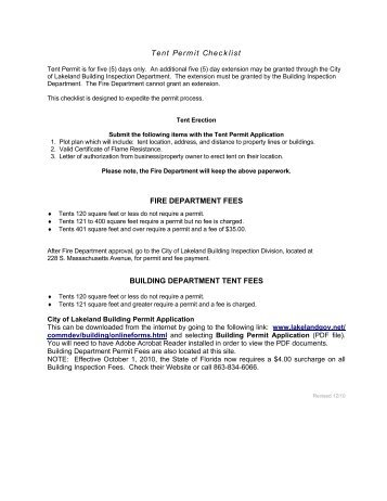 Print - Tent Permit Application and Checklist - City of Lakeland