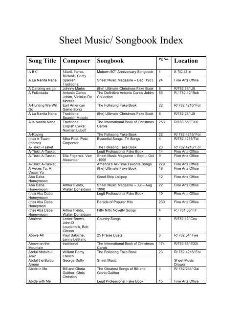 Sheet Music Songbook Index City Of Lakeland