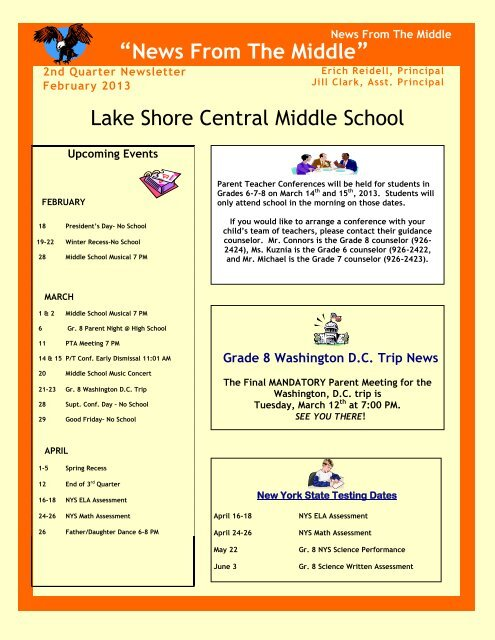 Middle School Newsletter February 2013 - Lake Shore Central ...