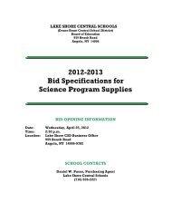 Science Program Supplies - Lake Shore Central School District ...
