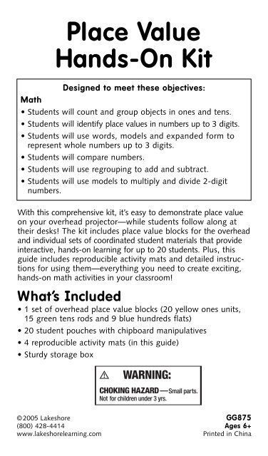 expanded form learning mat  Place Value Hands-On Kit - Lakeshore Learning Materials